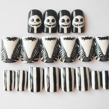 The Nightmare Before Christmas, Fake Nails, False Nails, Fake Nail Set, Halloween Nails, Gothic Nail Art, Acrylic Nails, Press on Nails