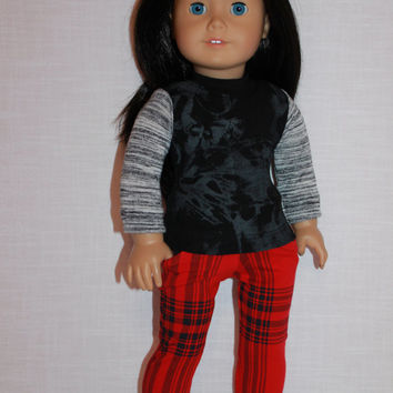 18 inch doll clothes, abstract print long sleeve shirt and plaid print stretchy  jeggings, Upbeat Petites