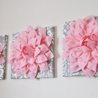 Three Light Pink Dahlia Flowers on Gray and White Damask Canvases