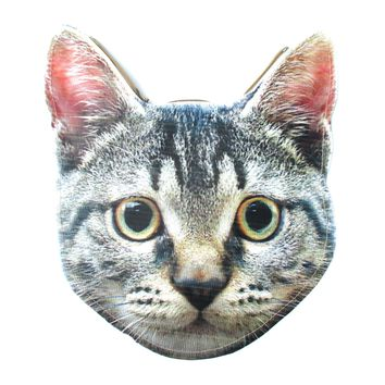 Grey Tabby Kitty Cat Head Shaped Vinyl Animal Photo Print Clutch Bag | DOTOLY