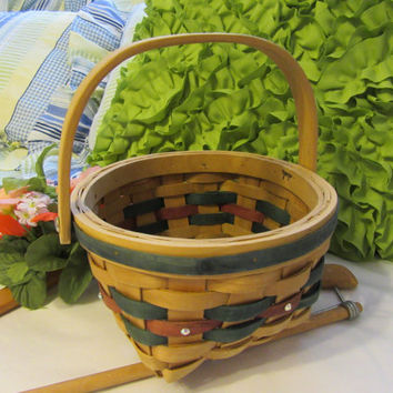 Round Natural Woven Green and Red Basket - With Crystal Accents