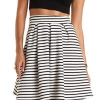 Black/White Striped & Pleated Skater Skirt by Charlotte Russe