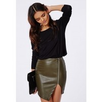 Missguided - Alanis Faux Leather Asymmetric Zip Skirt Khaki