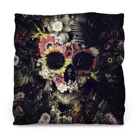 Warped Garden Skull Throw Pillow