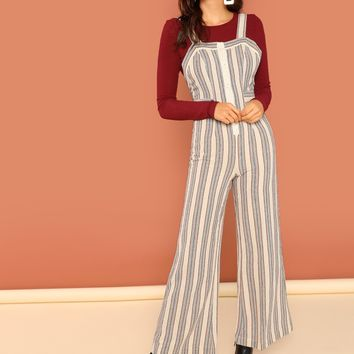 Multicolor Striped Button Front Lounge Linen Overalls