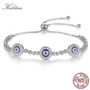 Women Evil Eye Lucky Hamsa Bracelet Genuine 925 Sterling Silver Men Luxury Round Blue Eyes CZ Tennis Bracelet Turkey Jewelry