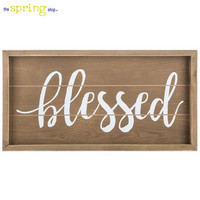 Brown & White Blessed Wood Wall Decor | Hobby Lobby | 5832837