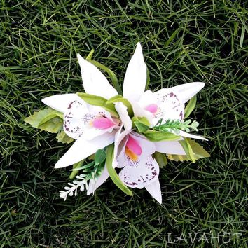Orchid Burst White Hawaiian Flower Hair Clip