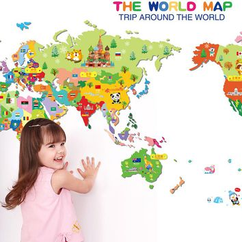 World Map Vinyl Art Wall Sticker For Kids Room Decoration Animals Playroom Nursery Room Wall Decals