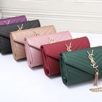 """Yves Saint Laurent YSL"" Women Simple Fashion V Line Metal Chain Single Shoulder Messenger Bag Tassel Small Square Bag"