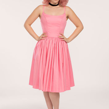 Pinup Couture Jenny Dress in Cotton Candy Pink Sateen