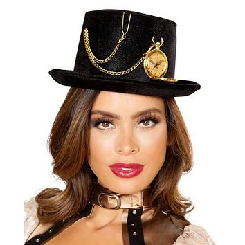 Sexy Steampunk Alice in Wonderland Top Hat with Pocket Watch