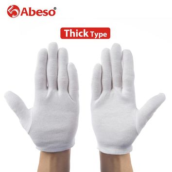ABESO 12 pairs thicken White 100% Cotton Ceremonial gloves for male female Serving /drivers Gloves Jewelry  Gloves A6002