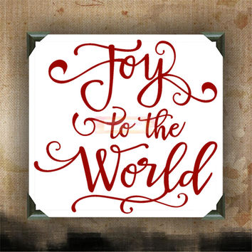 JOY to the WORLD - Painted Canvases - wall decor - wall hanging - Christmas quotes on canvas - Christmas - Holidays