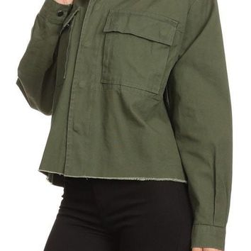 Crop Olive Jacket With Faux Fur Collar