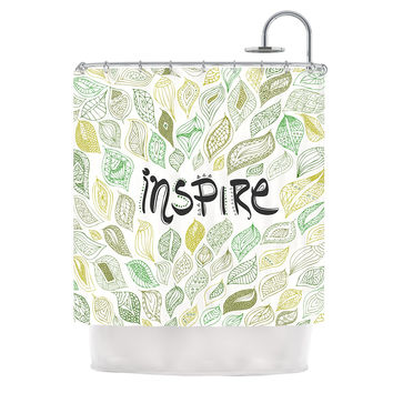 "Pom Graphic Design ""Inspire Nature"" Green Yellow Shower Curtain"