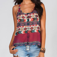 Full Tilt Ethnic Print Womens Lattice Back Top Multi  In Sizes