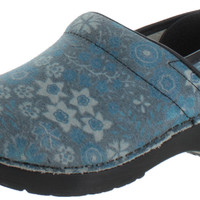 Sanita Bordo Women's Professional Floral Leather Clogs Shoes