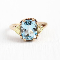Vintage Topaz Ring - 10k Rosy Yellow Gold Genuine 4.67 Carat Light Sky Blue Gem - 1940s Size 7 Flower Motif Two Tone Fine Floral Jewelry