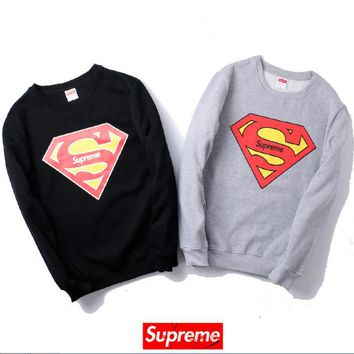 Autumn and winter tide brand SUPREME Superman printing plus cashmere leisure sweater