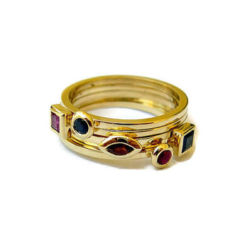 Stacking Rings Set, 14k Gold Rings, Square, Marquise, Bezel Set, Sapphire, Ruby, Garnet, Jewelry Fine