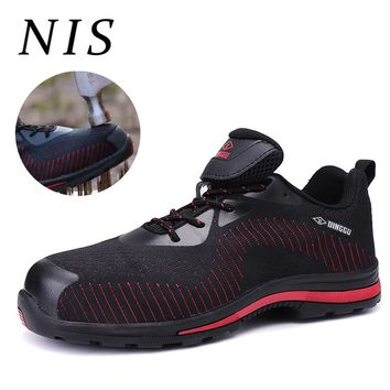 NIS Large Size Lightweight Bulletproof Work Safety Shoes Men Sport Boots Anti-puncture Steel Toe Sneakers Labor Atrego Shoes New