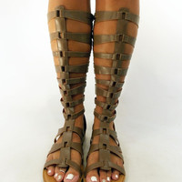 """Knee-D It"" Taupe Knee High Gladiator Sandal"