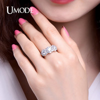UMODE Fashion Flower Shaped Three Stone Rings White Gold Color Cubic Zirconia Female Rings Jewelry for Women Anillos UR0343