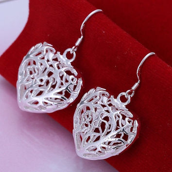 Hanging Hollow Heart Drop Dangle Earring Jewlery for Women 925 Sterling Silver = 1946669764