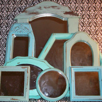 8 Vintage Beach Color Wall Mirrors & 1 Small Ornate Frame