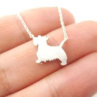 West Highland Terrier Dog Shaped Silhouette Charm Necklace in Silver   DOTOLY