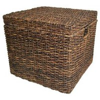 Wicker Lidded Cube Storage Basket - Dark Global Brown - Threshold™