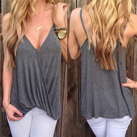 SIMPLE - Sexy Criss Cross back Sexy Strap V Neck T-shirt Top b4616
