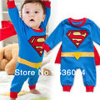 Superman Long Sleeve Baby Boy Dress Romper Halloween New Jumpersuit Costume Freeshipping - Default