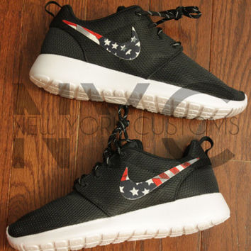 Nike Roshe Run Black American Flag Pride Print V3 Edition Custom