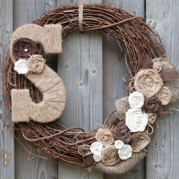 Burlap Wreath with Pearls and Jute Monogram Letter