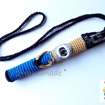 Crochet Ego Ecig Electronic Cigarette Vaporizer Holder Lanyard Tube Belt Case Lava Provari Vaping Necklace Cotton Funny Minion Amigurumi