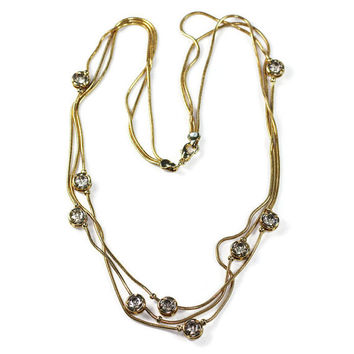 Three Chain Necklace Crystal Accents Gold Tone  Serpentine Chain Vintage