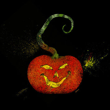 Jack O Lantern Splatter Art, Halloween Pumpkin, Printable Poster, Card Making, Halloween Decor