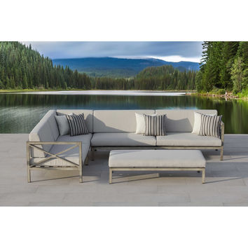 OVE® Pasadena 3-Piece Patio Sectional Set in Grey