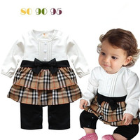 Retail infant toddler baby girl clothes  jumpsuit for kids cotton plaid long sleeve cute bow petti romper high quality 2015 new