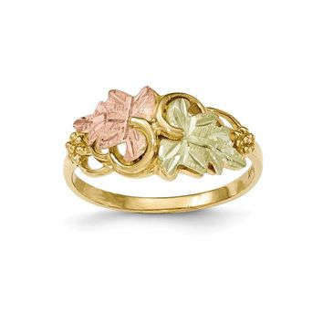 10k Tri-color Black Hills Yellow Gold Flower Ring