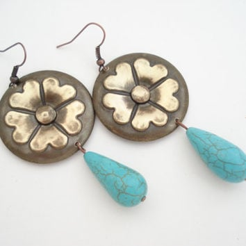 Unique Handmade Earrings-Oxidised Bronze Flower Earrings-Contemporary Metalwork Earrings with Turquoise Drop Beads