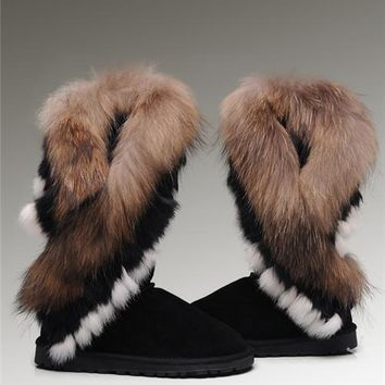 UGG Fox Fur Tall Boots 8688 Black