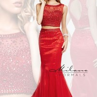 Two Piece Red Milano Formals Red Dress E1922