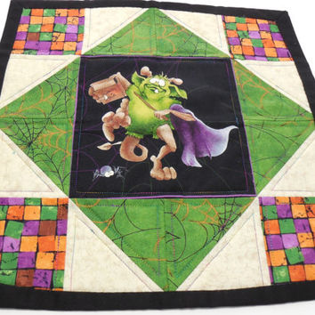 Quilted Table Topper Candle Mat Halloween Decor Decoration Handmade Square