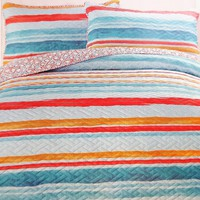 "Comfortable Elegance Summer Stripe Queen Size Reversible 3-Piece Quilt Set: 1 Quilt (86"" x 86"") and 2 Pillow Shams (20"" x 26"")"