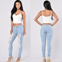 Stylish Women clothes Ladies High Waist Ripped Hole Slim Skinny Jeans pocket Button Stretch Pencil Denim Trousers one pieces