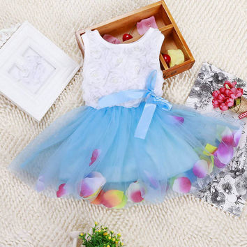 New Toddler Baby Kids Girls Princess Party Tutu Lace Bow Flower Dresses ClothesSM6