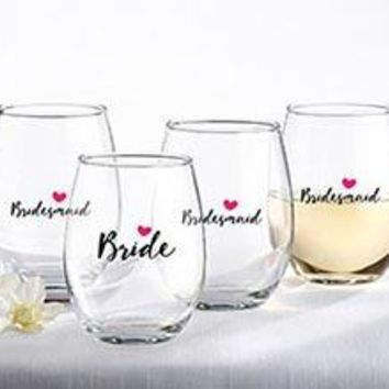 Bride and Bridesmaids Pink Heart 15 oz. Stemless Wine Glass (Set of 4)
